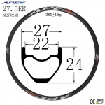 27.5er Chinese factory supplied cheap mountain bike carbon rims MTB M27W24H