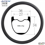 26er hot selling  depth 34mm down hill DH mountain bike carbon rims M36W34H