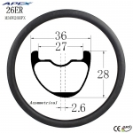 26er Asymmetrical down hill DH carbon fiber mountain bike rims MTB carbon rim M36W28H
