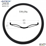 26 inch high quality carbon fat bike rims fat bicycle rim for snow bike M85W17H